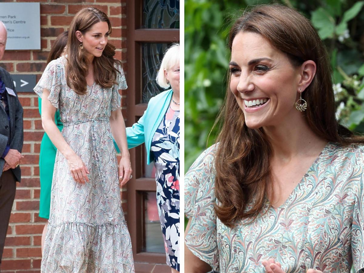 księżna Kate w sukience z wzorem paisley