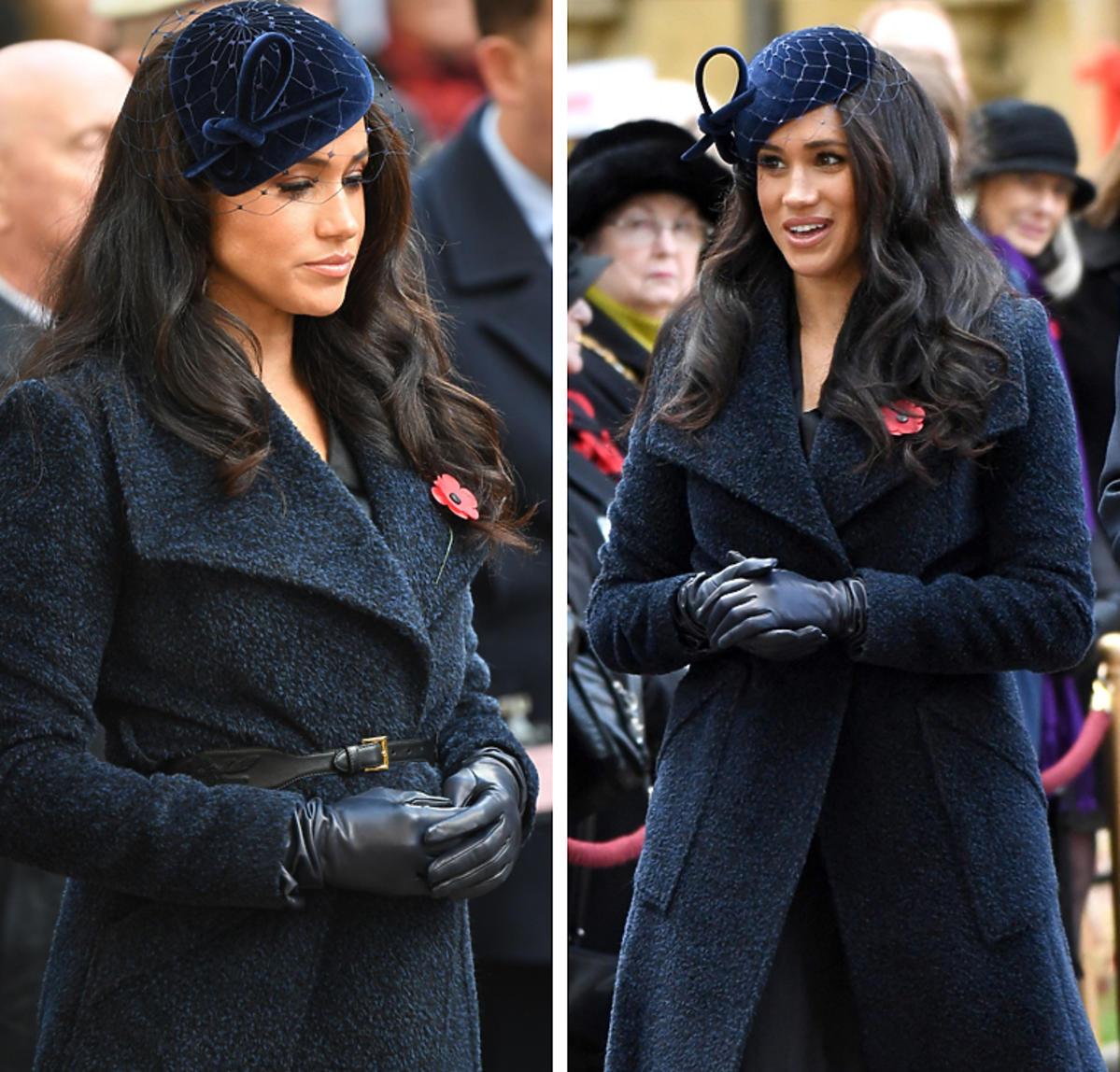 Księżna Meghan w granatowym płaszczu