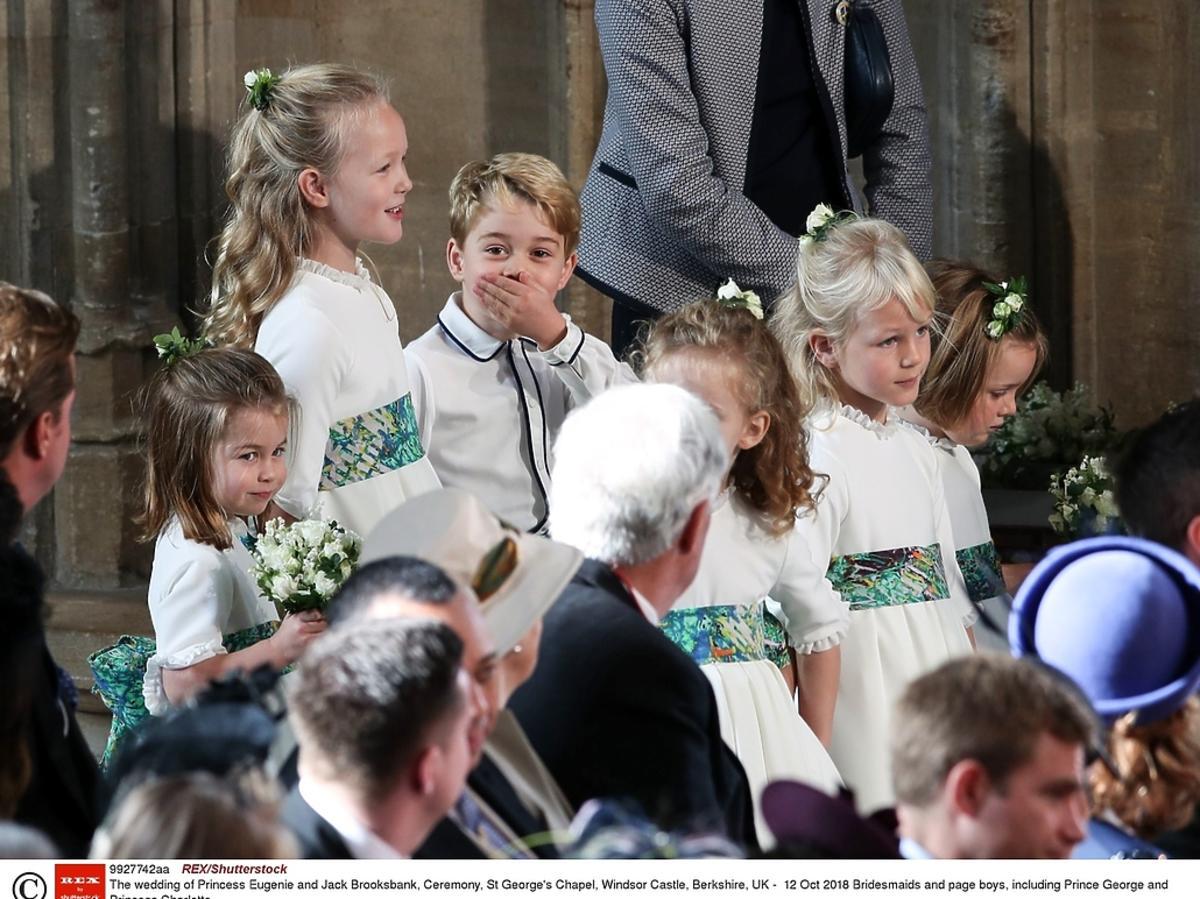 Księżniczka Charlotte i książę George na ślubie księżniczki Eugenii
