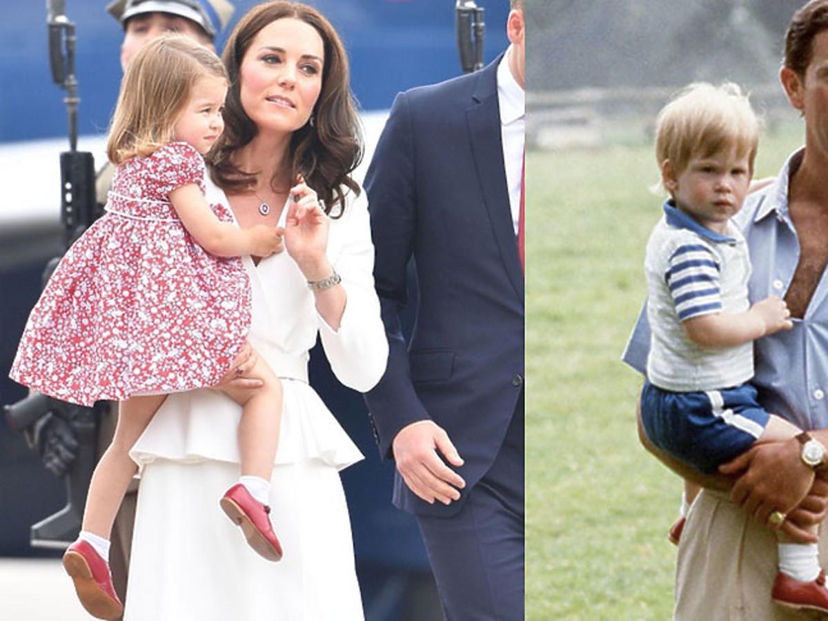 Księżniczka Charlotte nosi stare czerwone buty po wujku Harrym