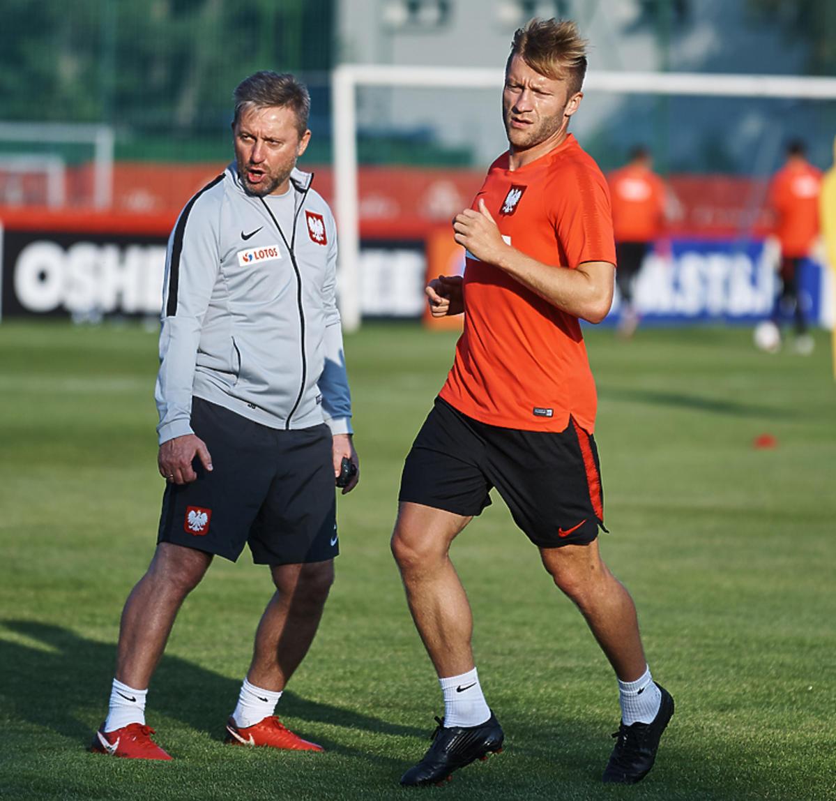 Kuba Błaszczykowski i Jerzy Brzęczek podczas treningu reprezentacji Polski