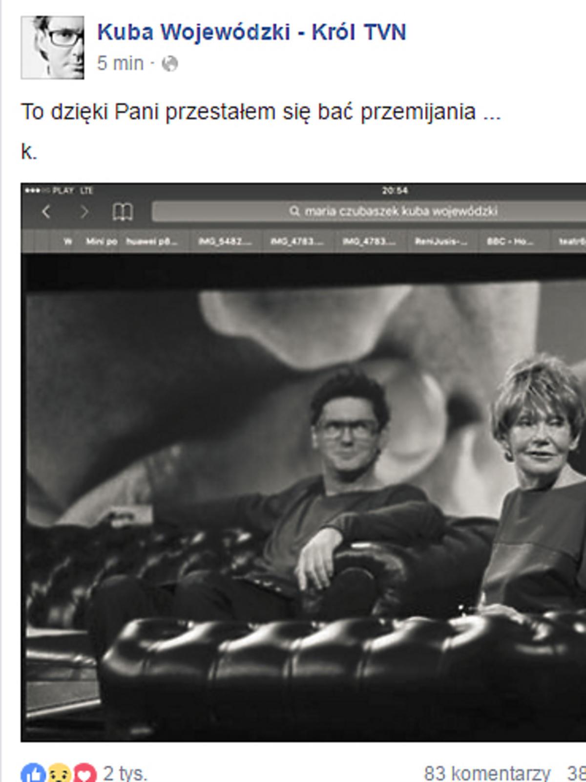 Kuba Wojewódzki o śmierci Marii Czubaszek