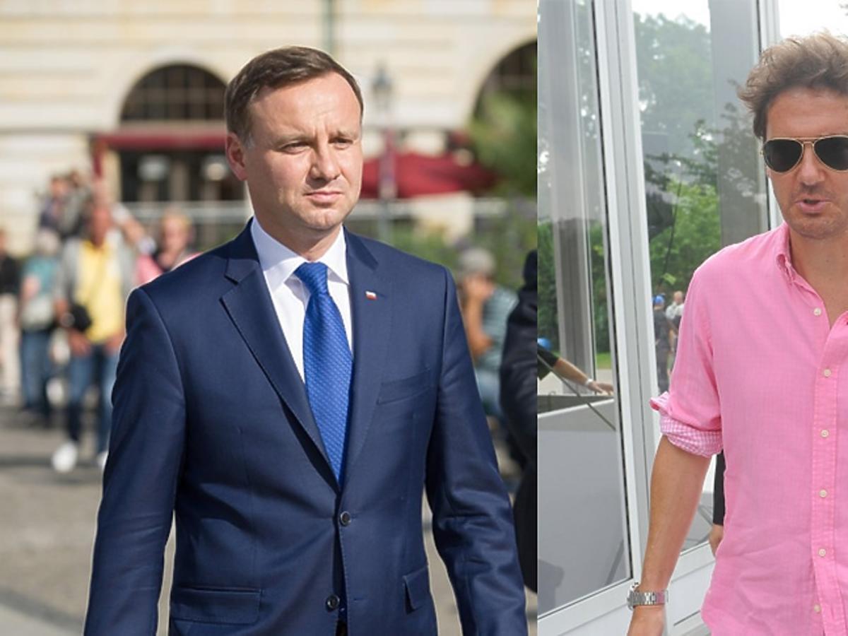 Kuba Wojewódzki w różowej koszuli, Andrzej Duda w garniturze