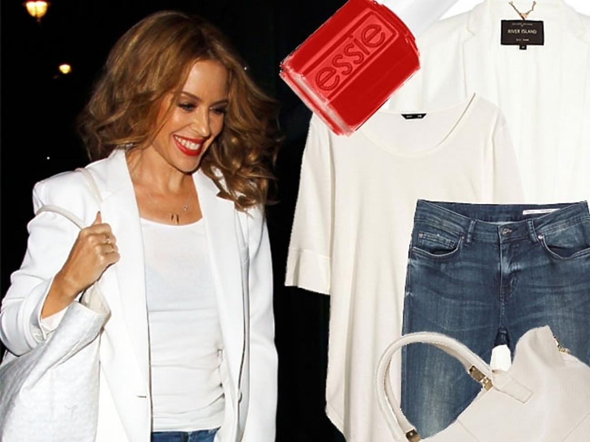 Kylie Minogue w białej marynarce
