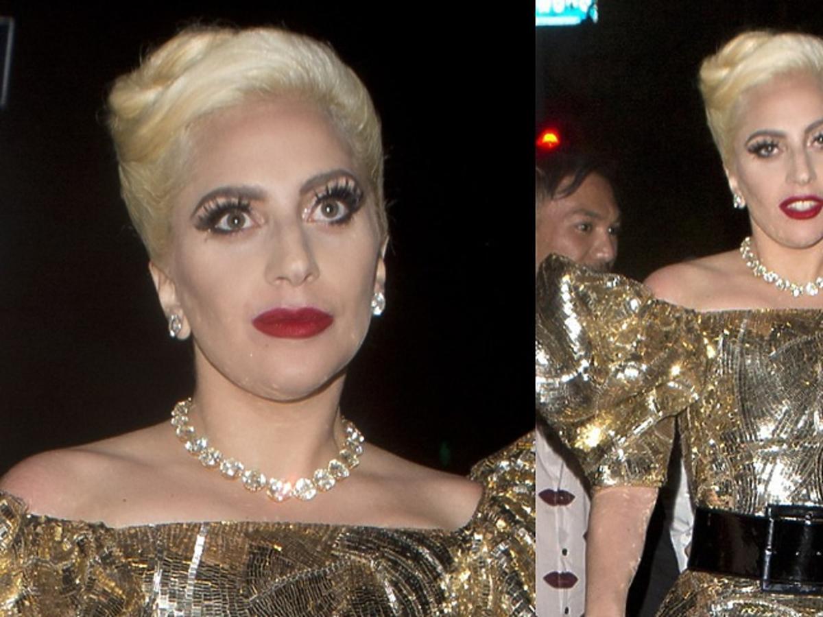 Lady Gaga w złotej sukni mini w bufkami