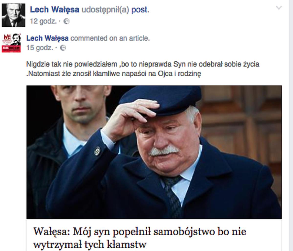 Lech Wałęsa dementuje plotki o samobójczej śmieci syna Przemysława Wałęsy