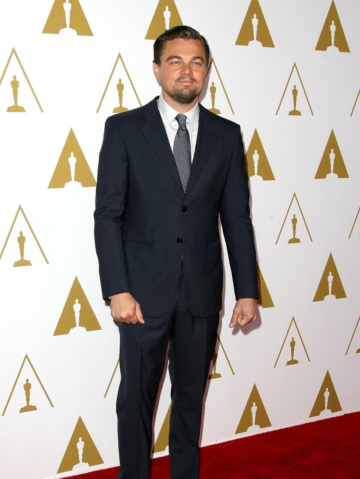 Leonardo DiCaprio podczas konferencji prasowej nominacji do Oscarów 2014