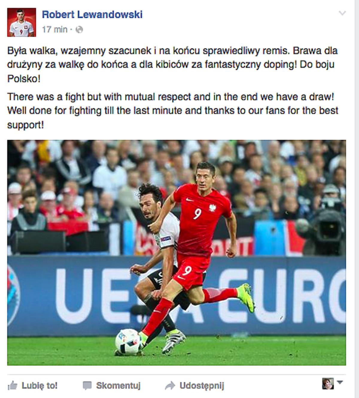Lewandowski po meczy z Niemcami dziekuje