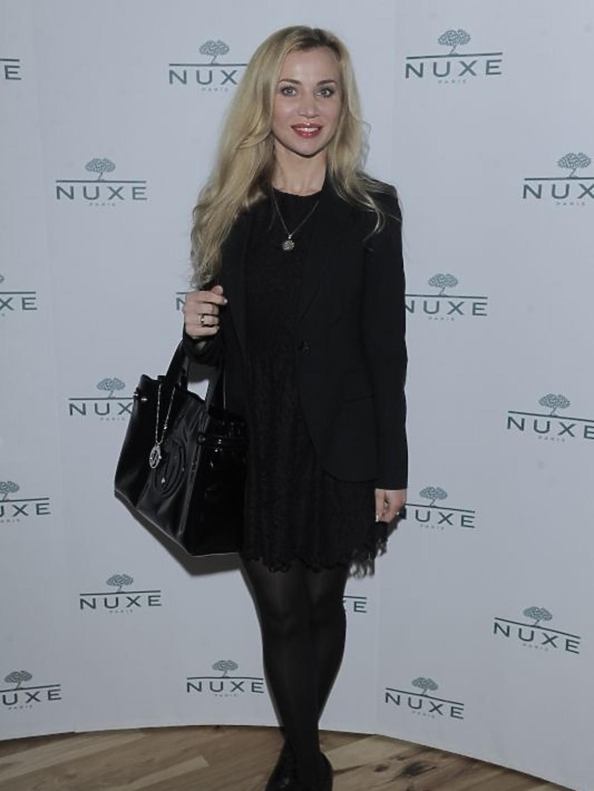 Lidia Kopania na konferencji prasowej Nuxe Nuxellence Jeunesse