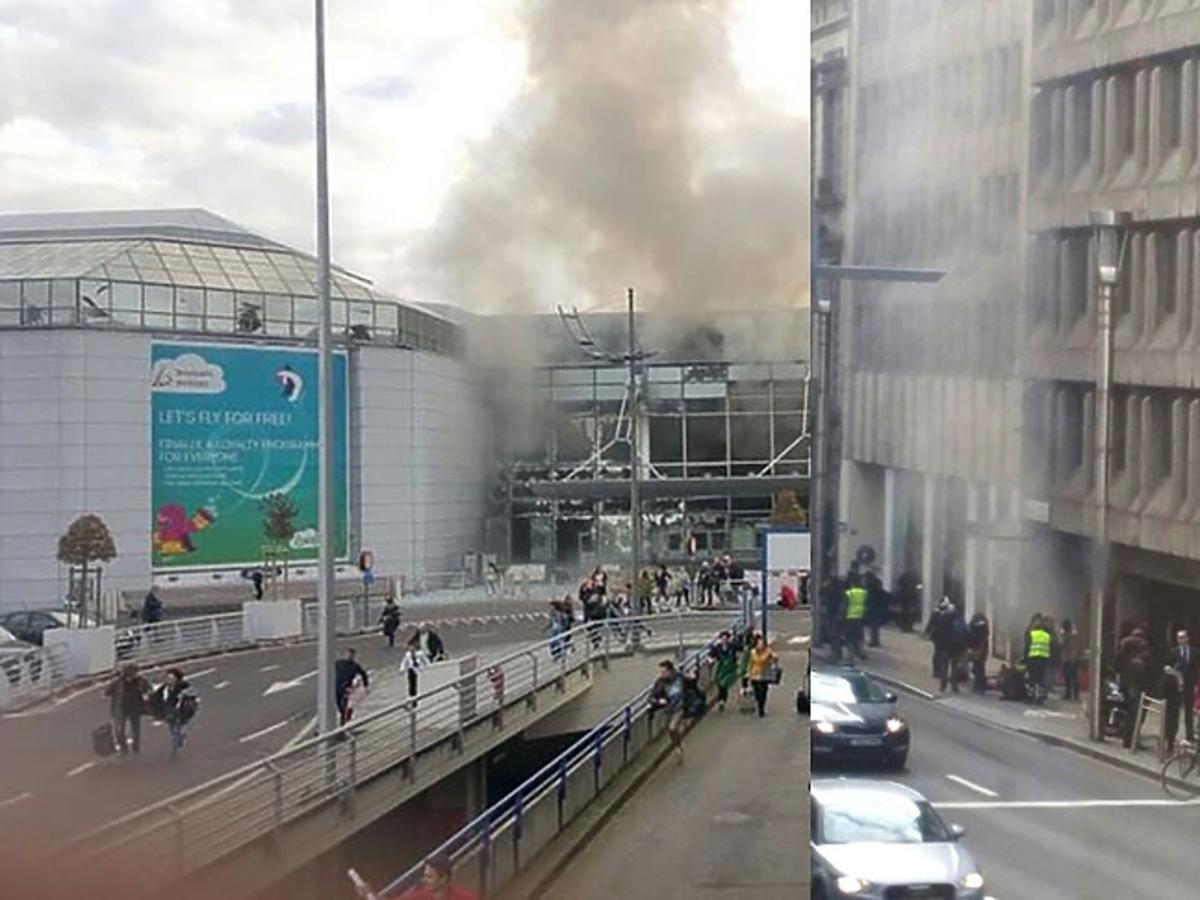 Ludzie uciekają z lotniska i ze stacji metra w Brukseli