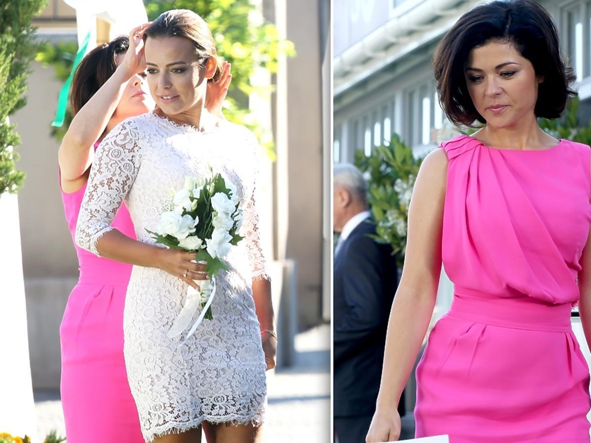 M jak Miłość odcinek 1185, Anna Mucha w sukni ślubnej, Katarzyna Cichopek w różowej sukience