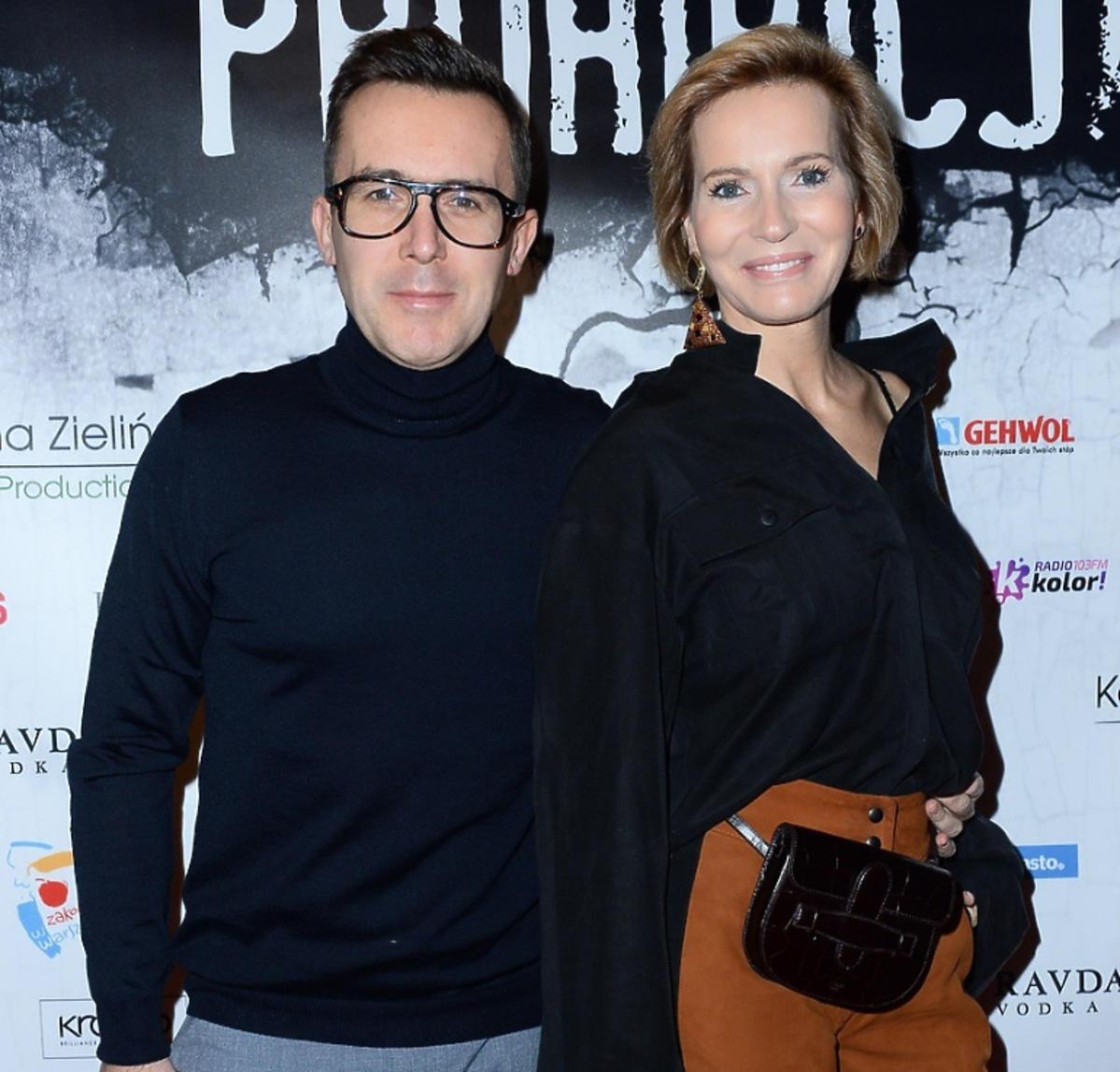 Maciej Kurzajewski i Paulina Smaszcz-Kurzajewska na premierze spektaklu