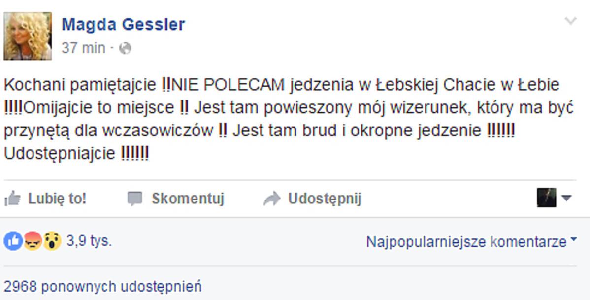 Magda Gessler ostro o Łebskiej Chacie