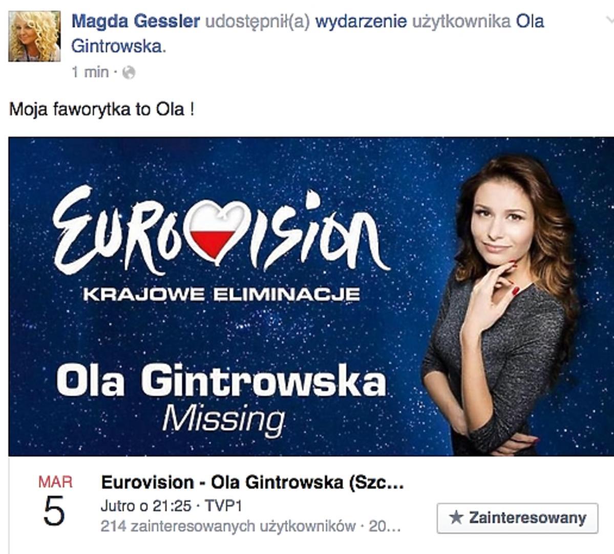 Magda Gessler zdradziła komu kibicuje na Eurowizji 2016