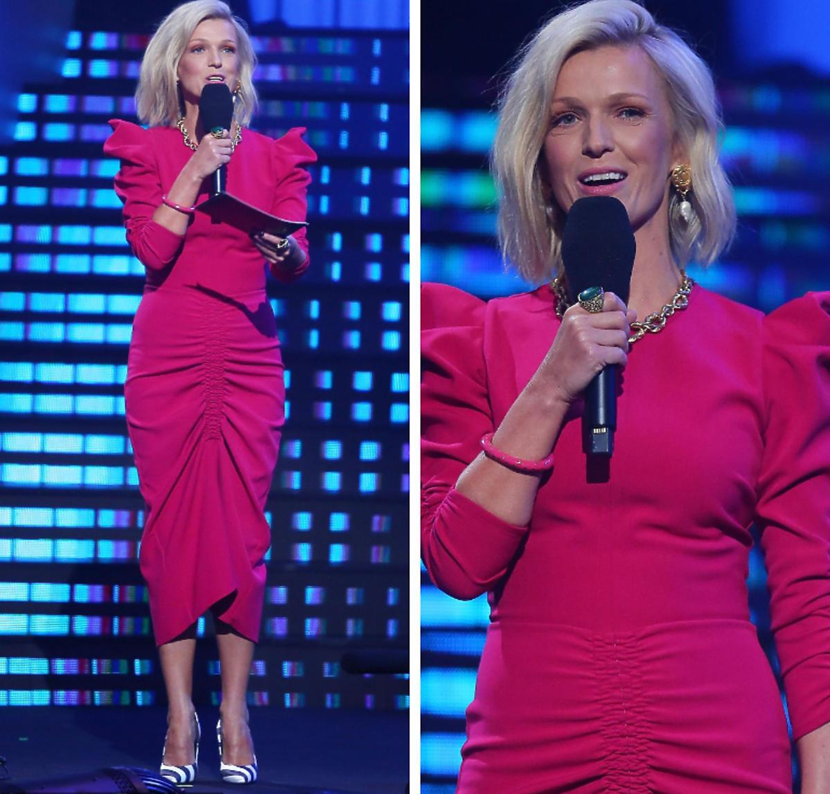 Magda Mołek na festiwalu Top of the top 2019 w różowej sukience