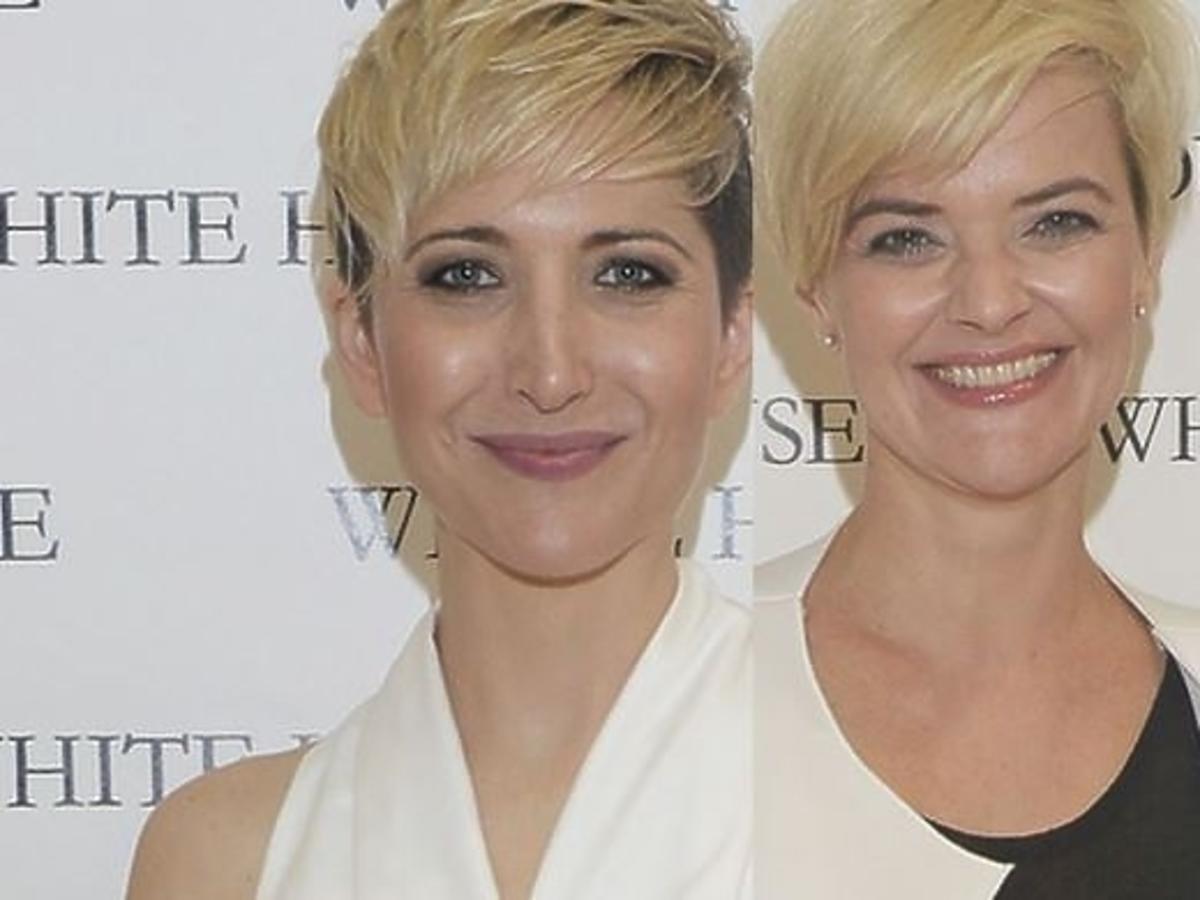 Magda Steczkowska i Monika Zamachowska na prezentacji w showroomie