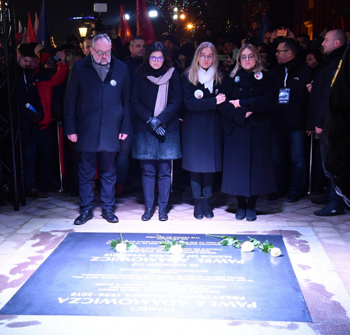 Magdalena Adamowicz z córką na uroczystości w pierwszą rocznicę śmierci Pawła Adamowicza