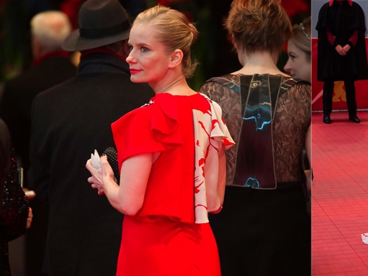 Magdalena Cielecka w czerownej sukni  na Berlinale