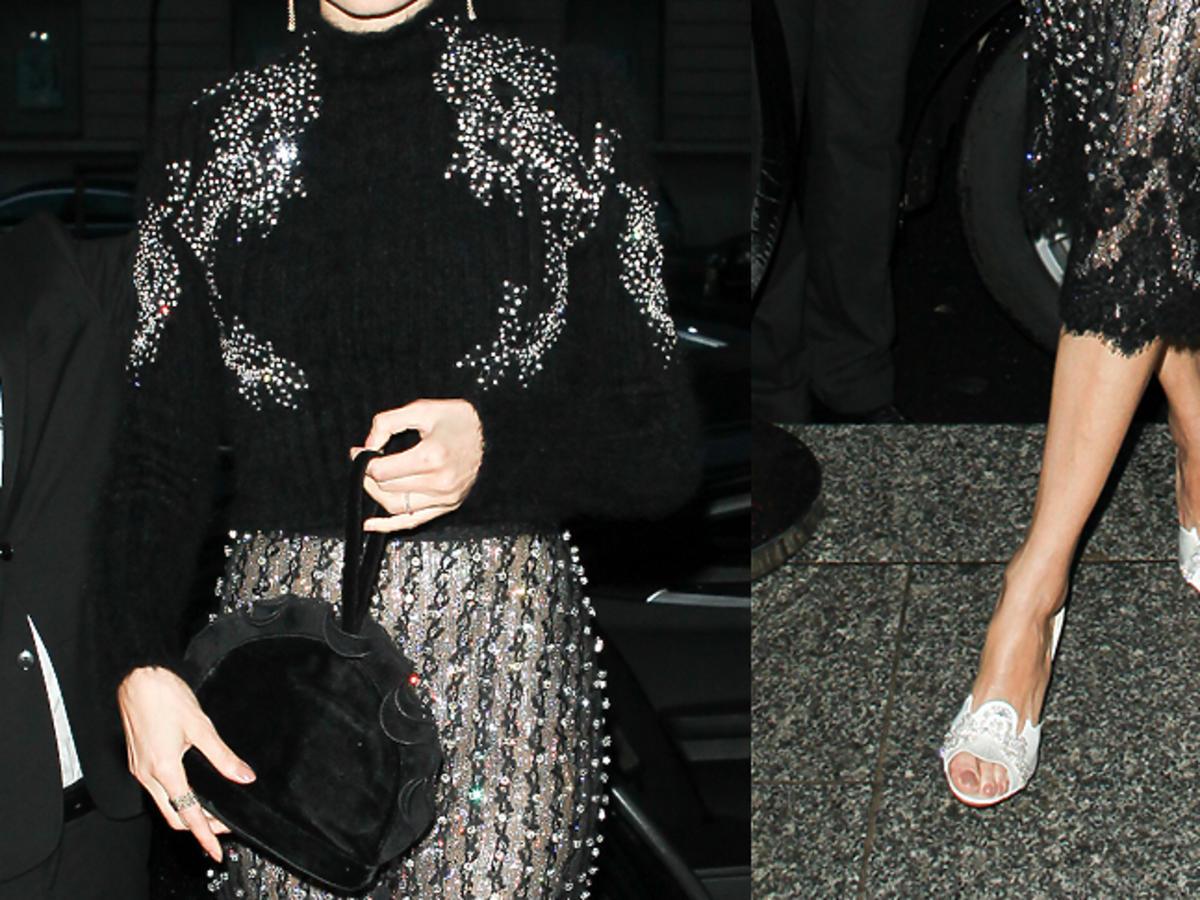 Magdalena Frąckowiak w swetrze z kryształkami i jasnych klapkach