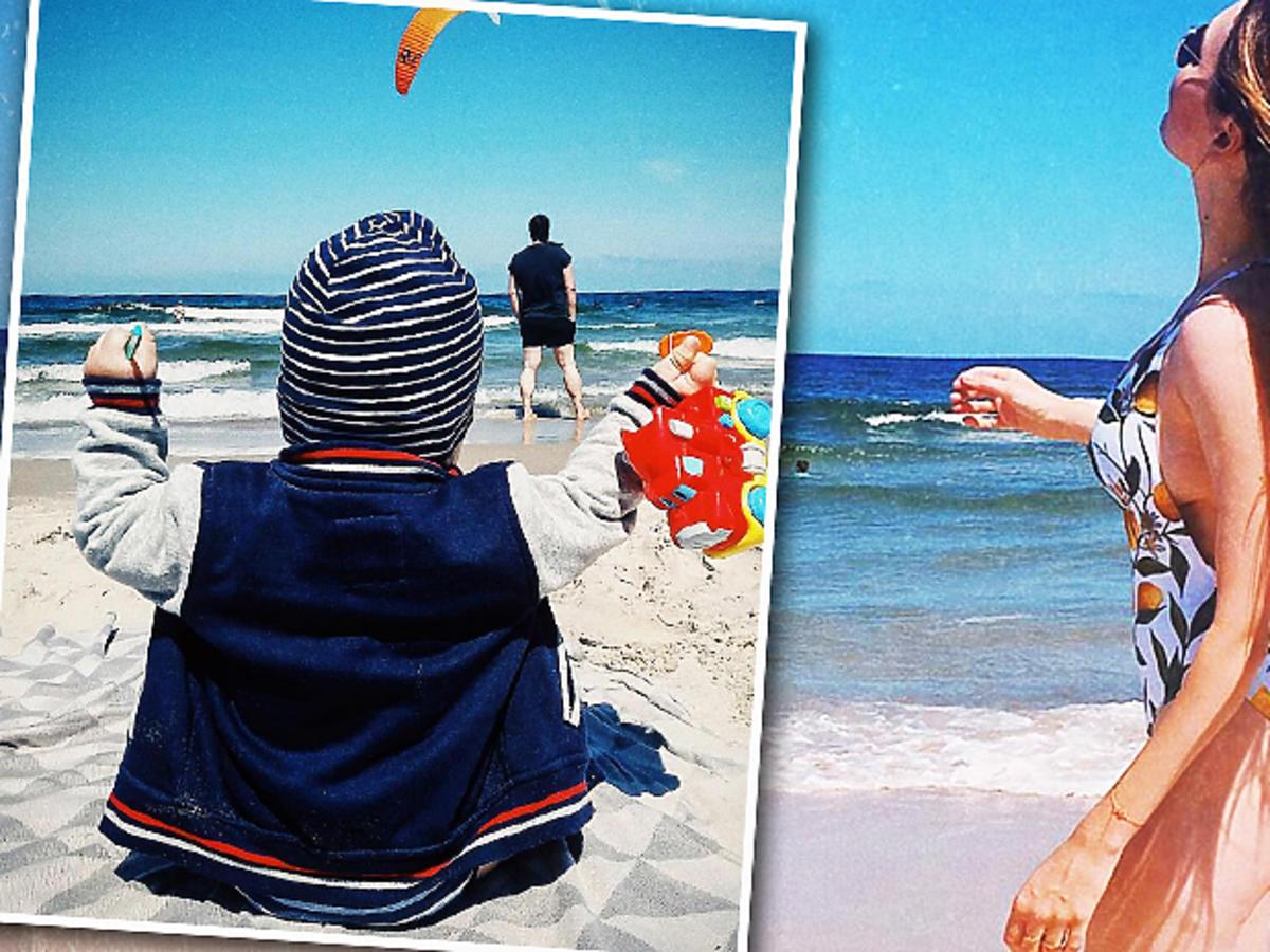 Magdalena Lamparska w stroju kąpielowym po porodzie. Zdjęcie