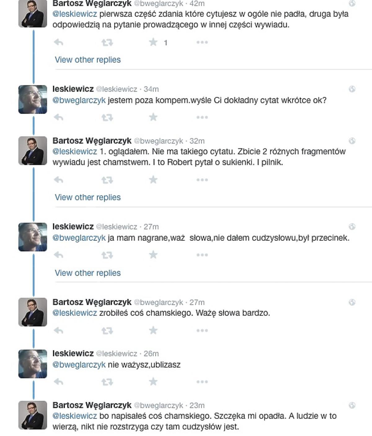 Magdalena Ogórek, Bartosz Węglarczyk, Liskiewicz na Twitterze