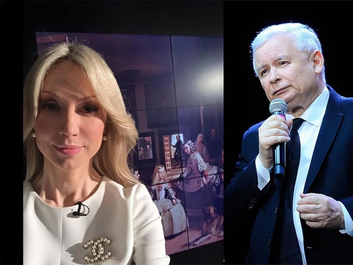 Magdalena Ogórek w białej sukience, Jarosław Kaczyński w ciemnym garniturze