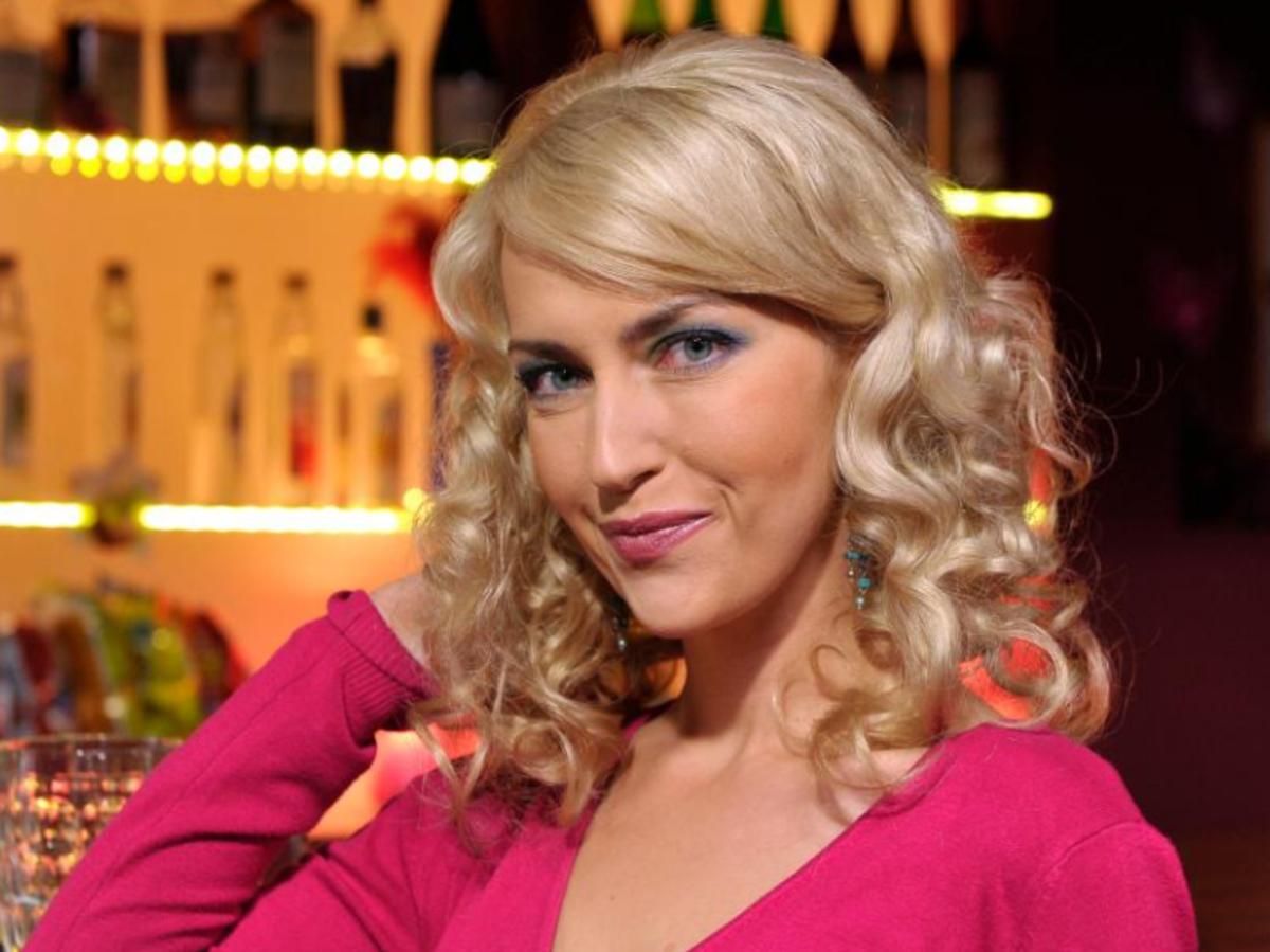 Magdalena Waligórska na planie serialu Ranczo