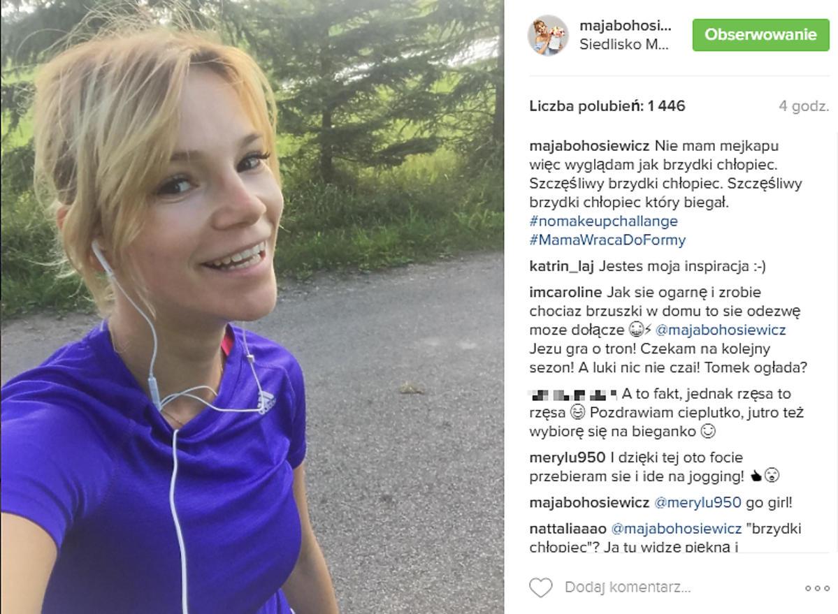 Maja Bohosiewicz w niebieskiej bluzce