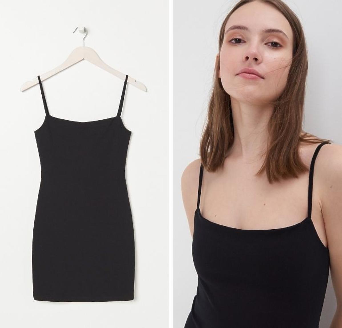Mała czarna sukienka na ramiączkach Sinsay