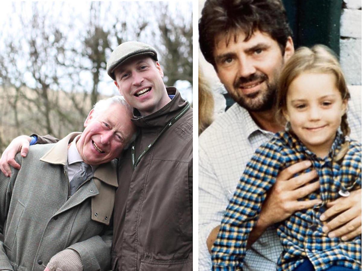 Mała księżna Kate Middleton z ojcem, Michaelem Middleton oraz książę Karol z synem, księciem Williamem