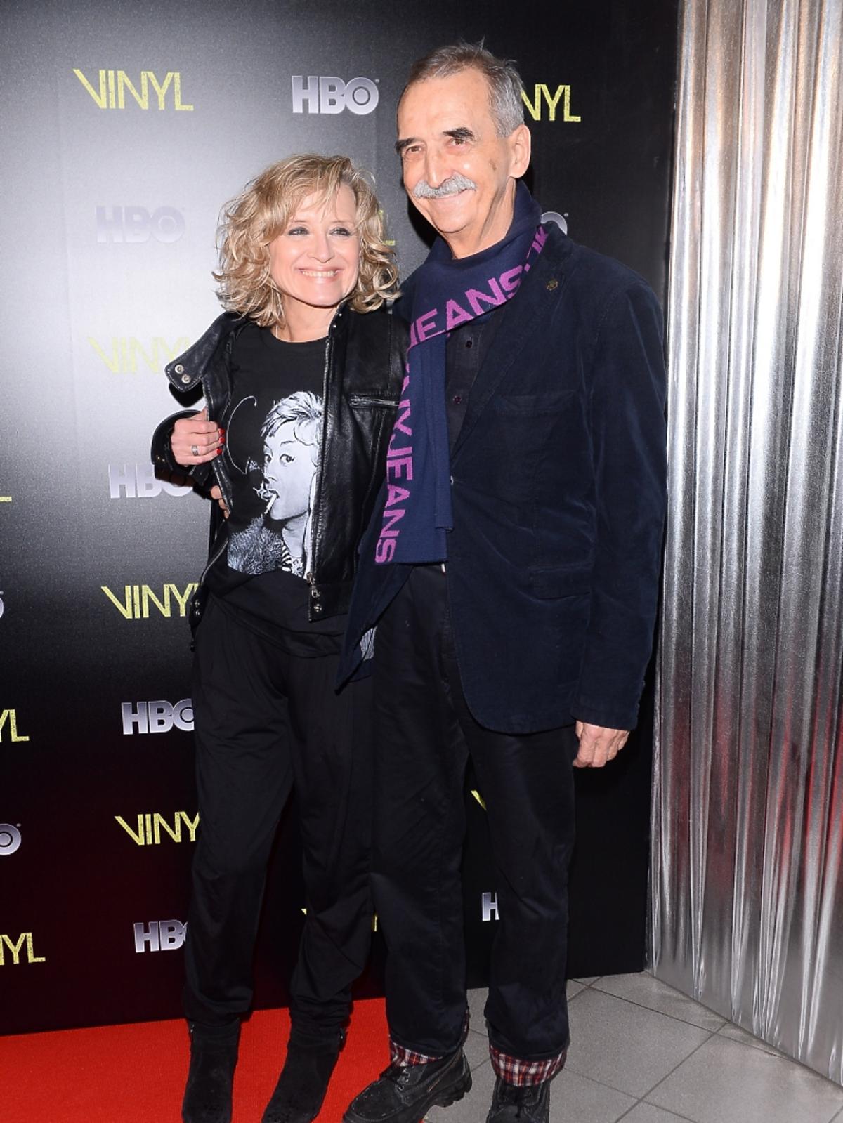 Małgorzata Bogdańska i Marek Koterski na pokazie serialu Vinyl
