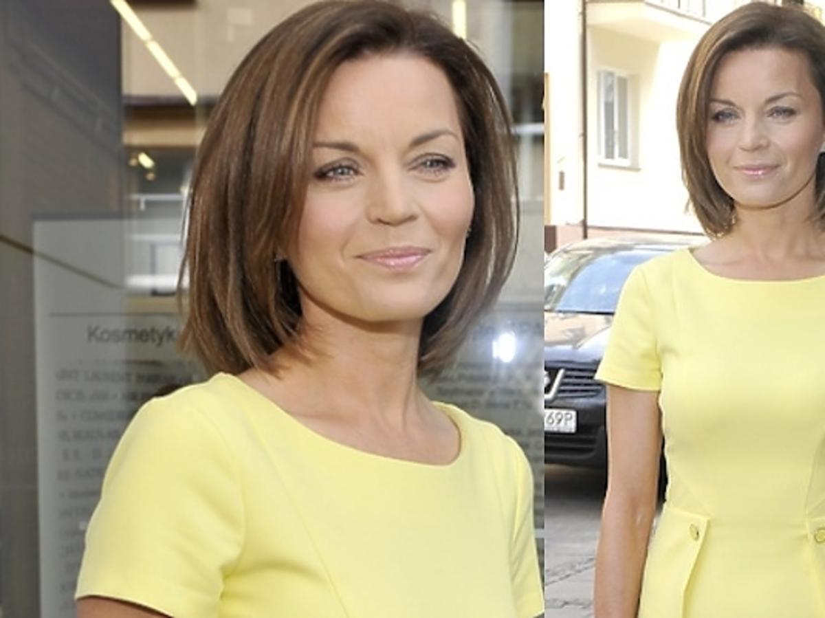 Małgorzata Foremniak w żółtej sukience