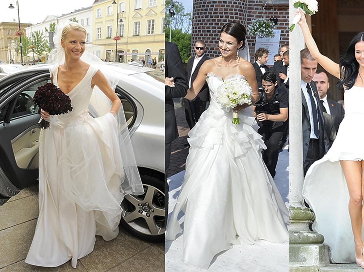 Małgorzata Kożuchowska, Anna Lewandowska, Paulina Sykut w sukniach ślubnych.