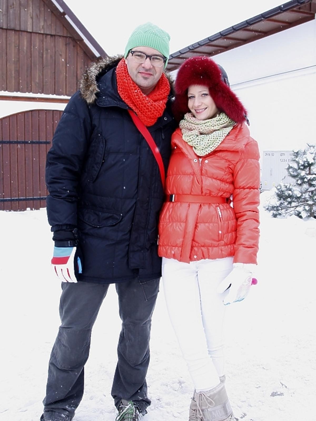 Małgorzata Kożuchowska i Tomasz Karolak na planie serialu