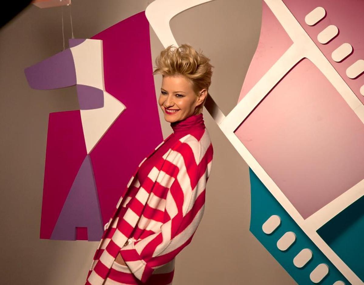 Małgorzata Kożuchowska na planie reklamy