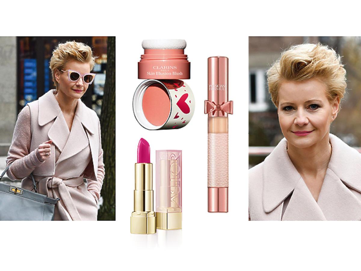 Małgorzata Kożuchowska, różowy pudrowy makijaż na wiosnę