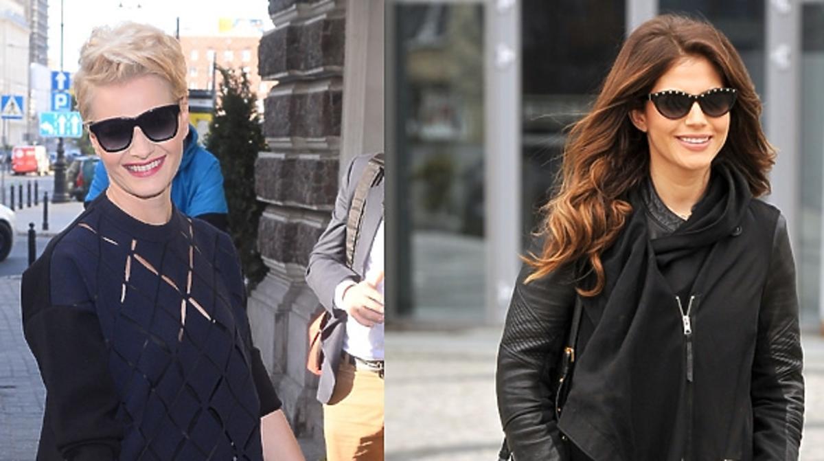 Małgorzata Kożuchowska w czarnych oklarach i Weronika Rosati w czarnych okularach na ulicy