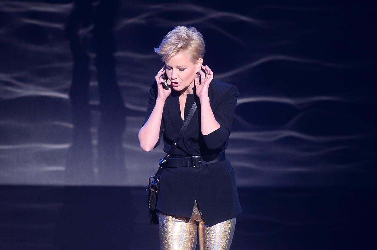 Małgorzata Kożuchowska w złotych spodniach
