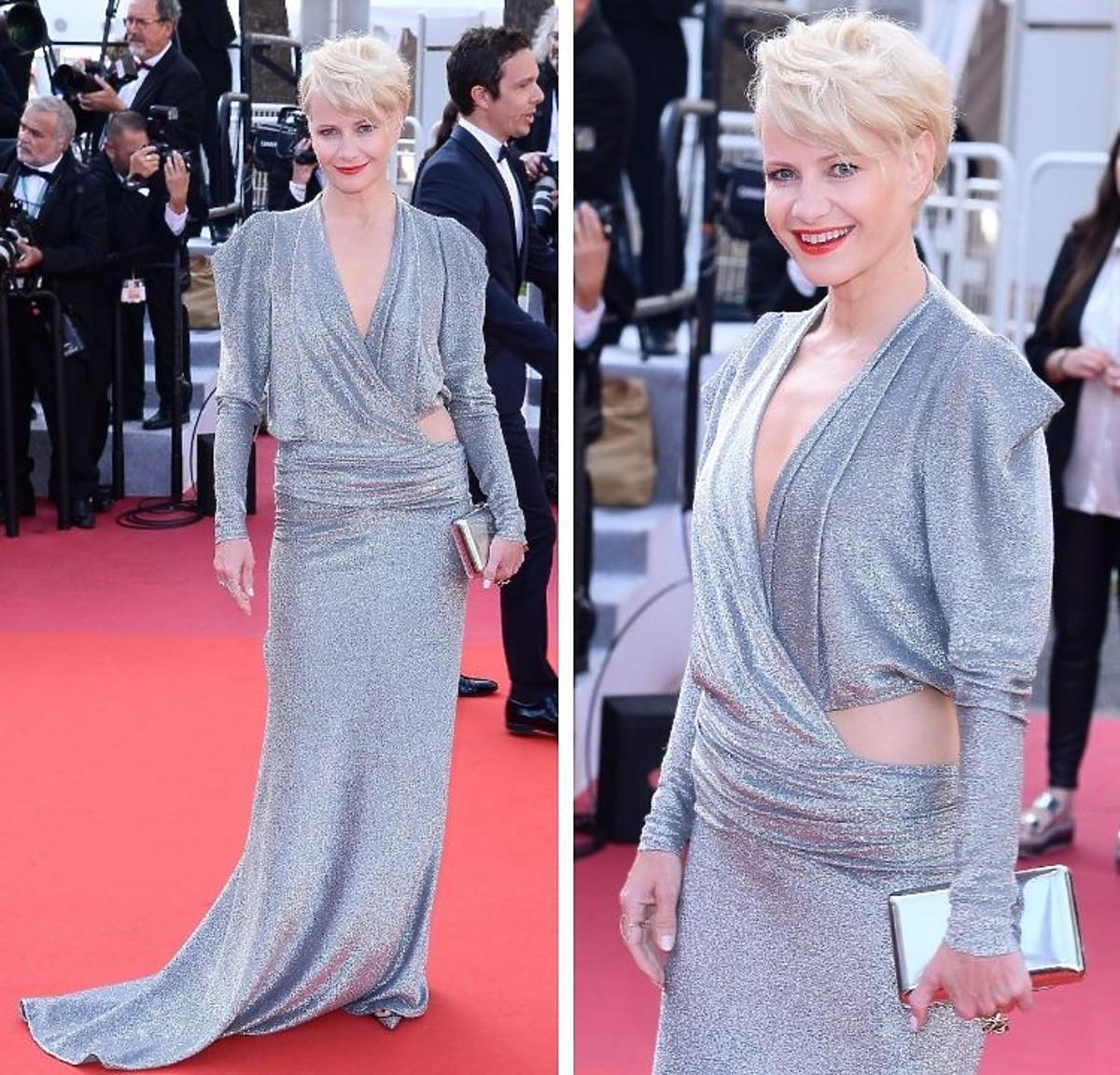 Małgorzata Kożuchowska wpozuje na crwonym dywanie w Cannes