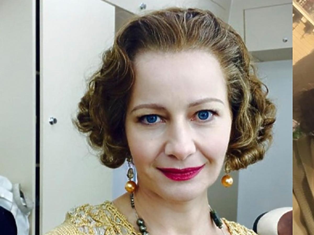 Małgorzata Kożuchowskaw ciemnych włosach i kapeluszu w stylizacji do amerykańskiego filmu