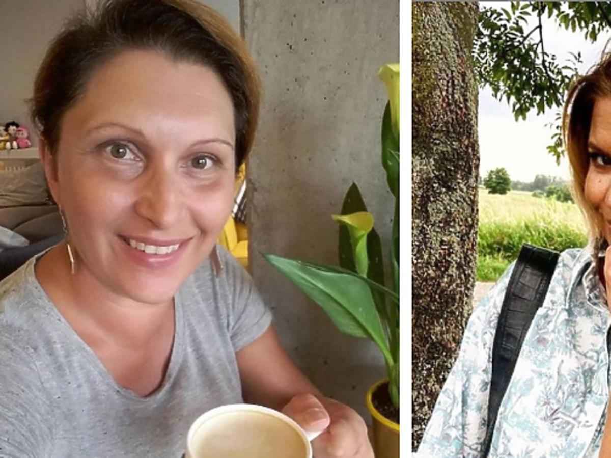 Małgorzata Płaza z kubkiem kawy, Marta Manowska w jasnej koszulki