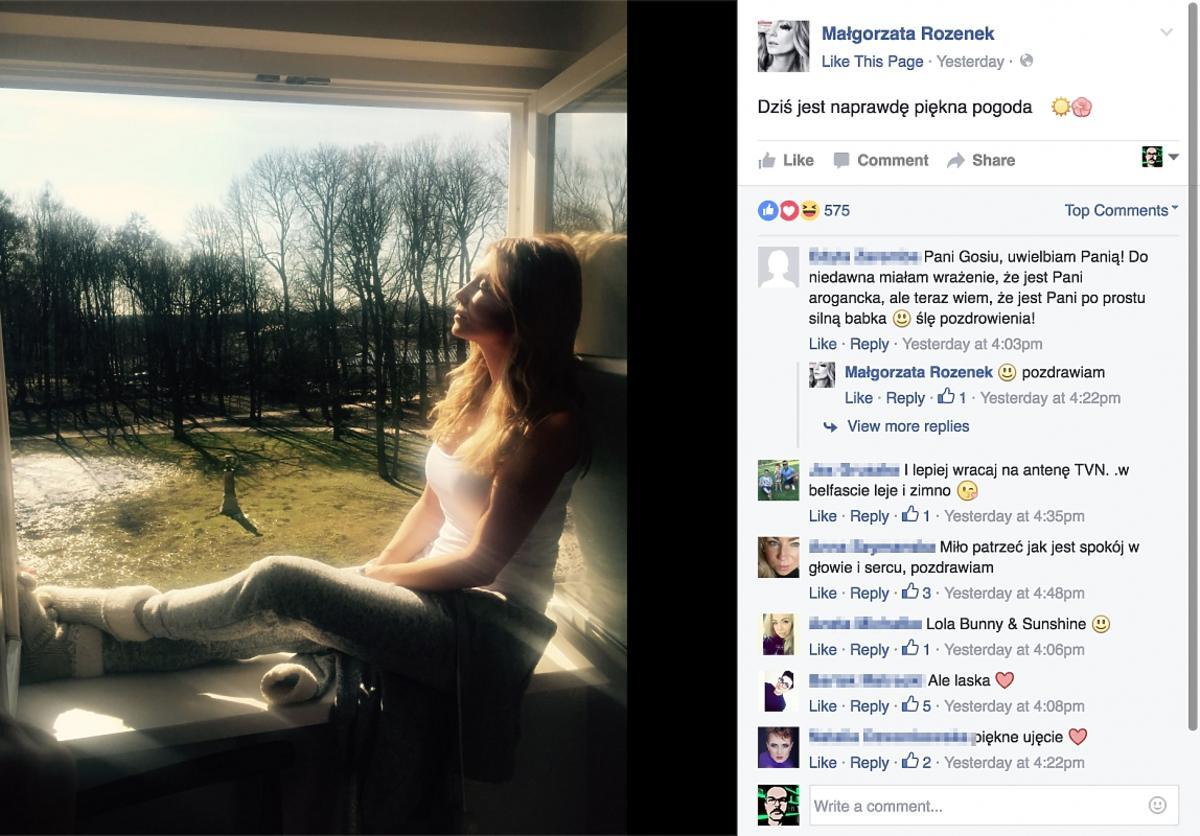Małgorzata Rozenek na Facebooku