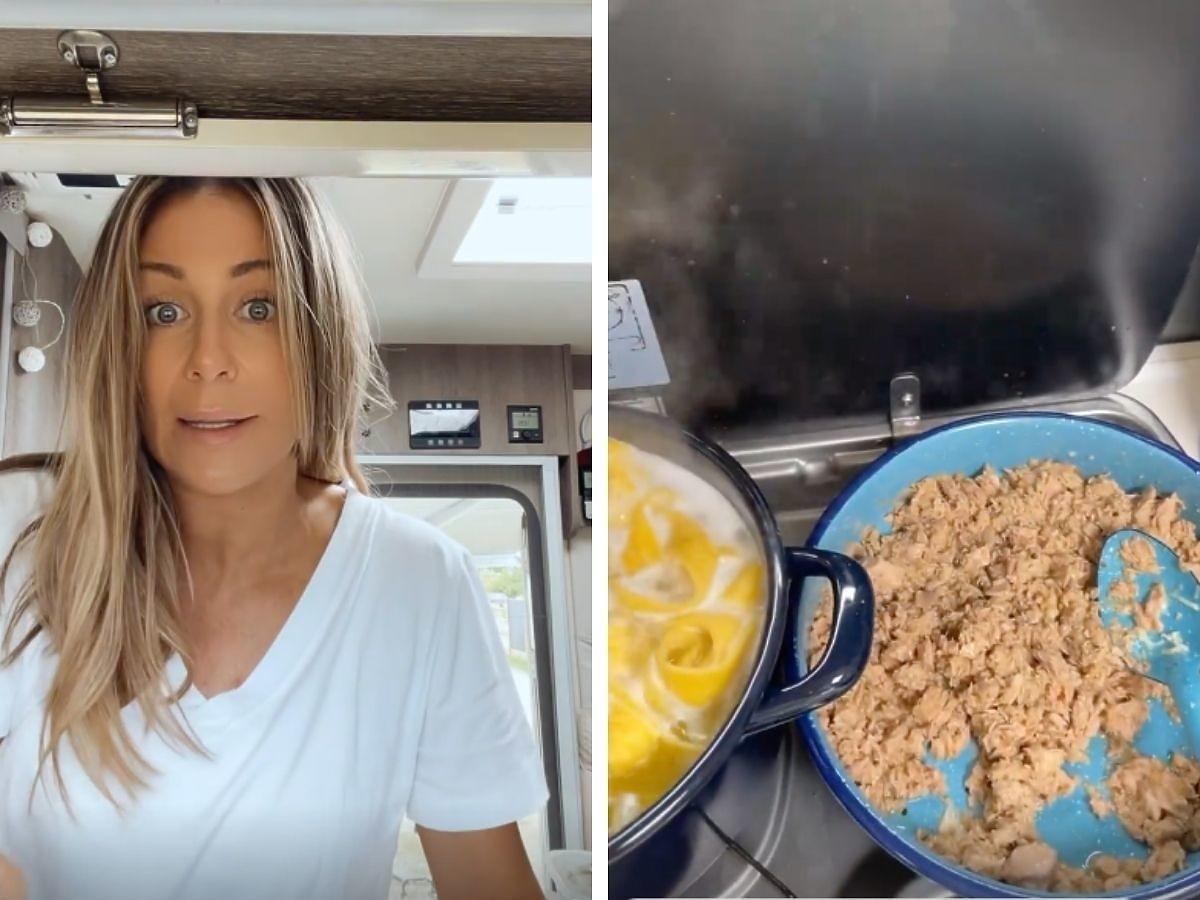 Małgorzata Rozenek na wakacjach w Szwecji gotuje w kamperze
