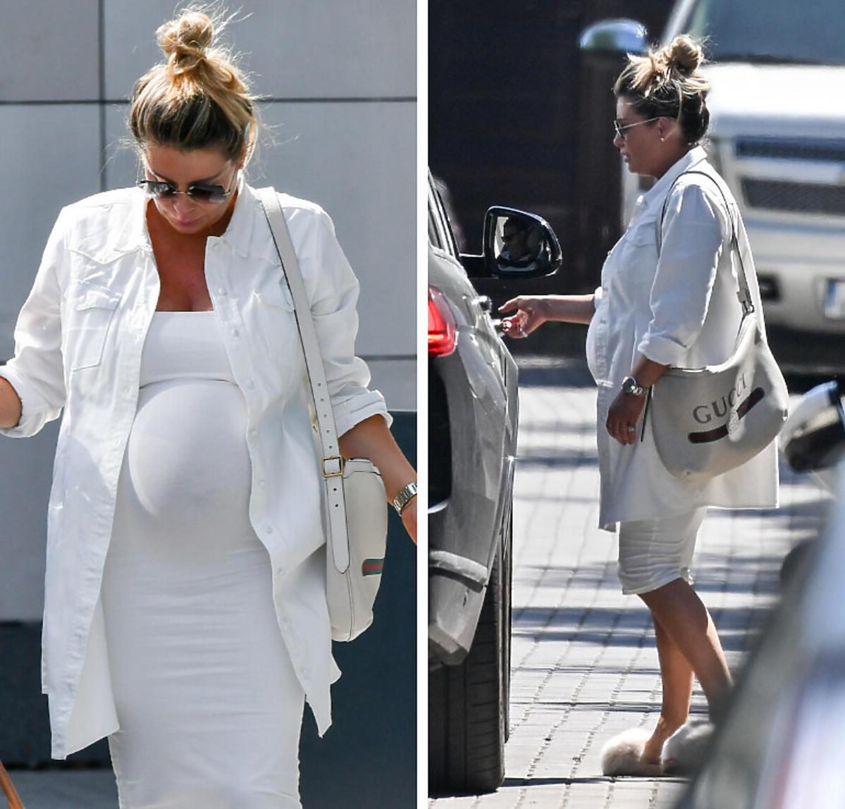 Małgorzata Rozenek w białej sukience, która podkreśliła jej ciążowy brzuszek