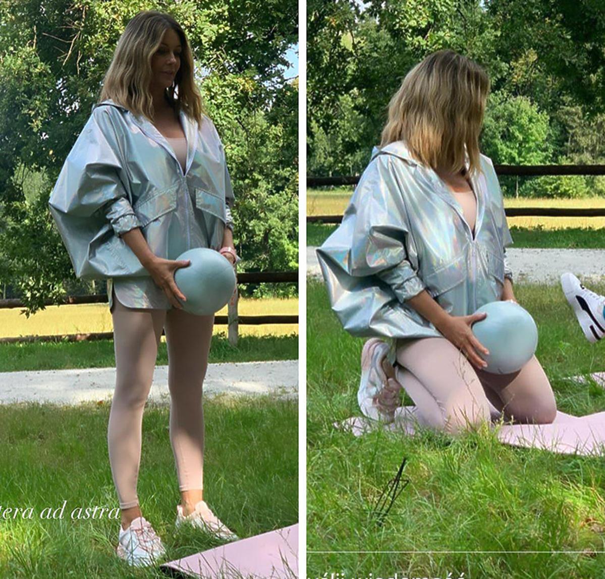 Małgorzata Rozenek w holograficznej kurtce