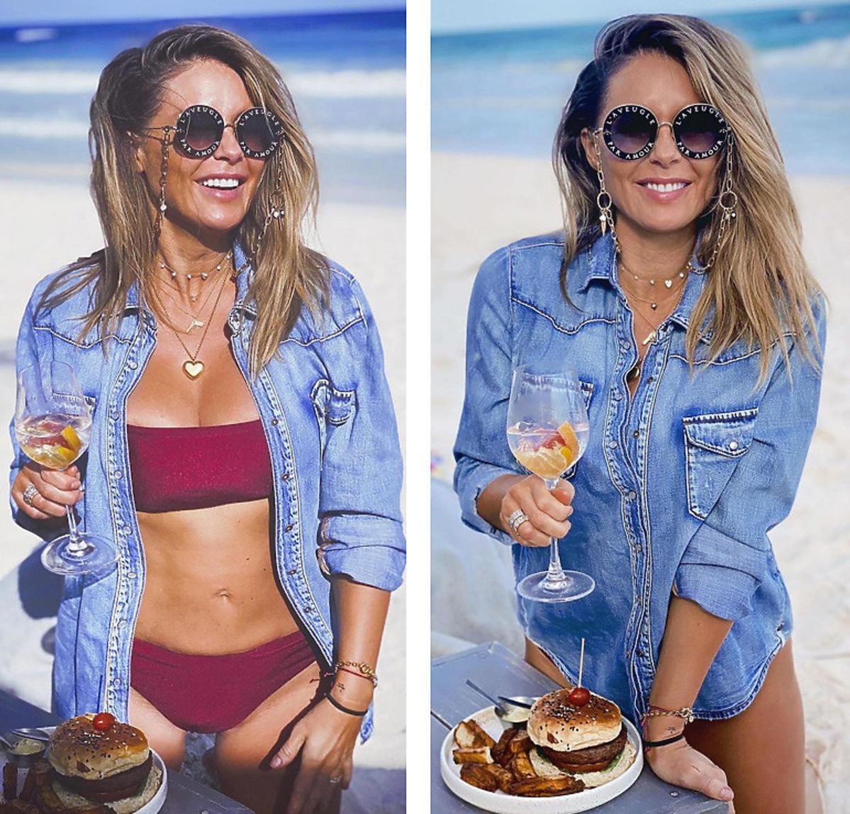 Małgorzata Rozenek w jeansowej koszuli na plaży