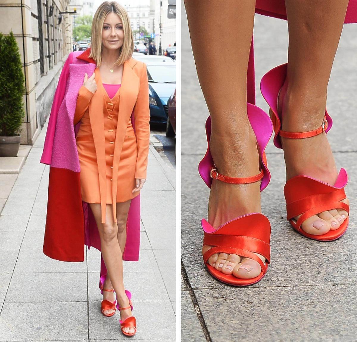 Małgorzata Rozenek w pomarańczowo-różowej stylizacji