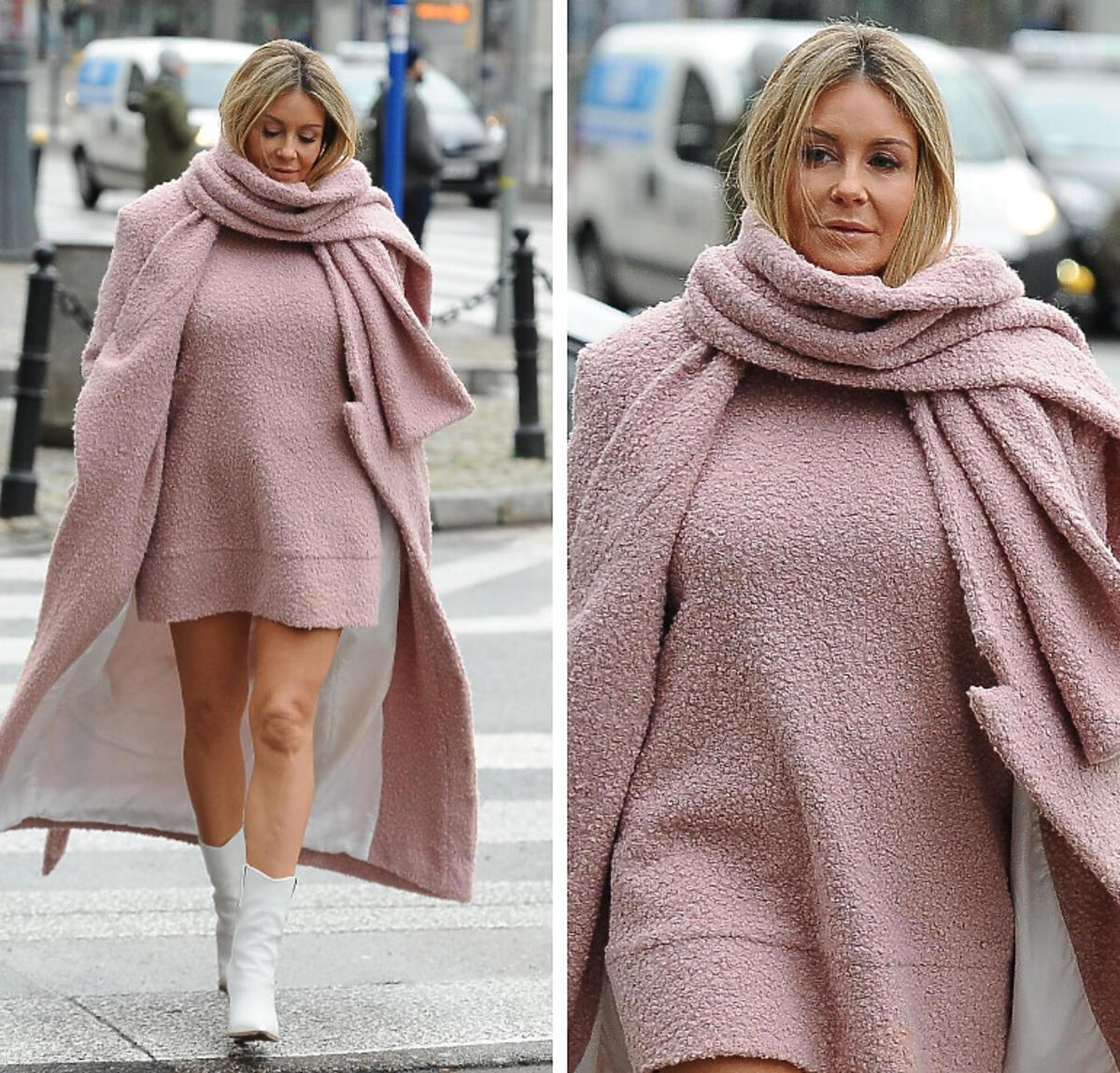 Małgorzata Rozenek w różowej stylizacji wychodzi z DDTVN