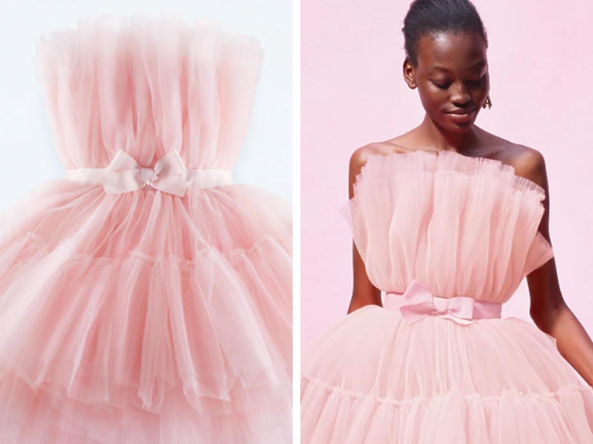 Małgorzata Rozenek w sukience z różowego tiulu na prezentacji kolekcji H&M