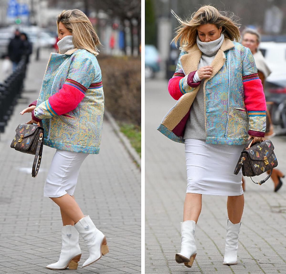 Małgorzata Rozenek w zaawansowanej ciąży chroni się przed zimnem